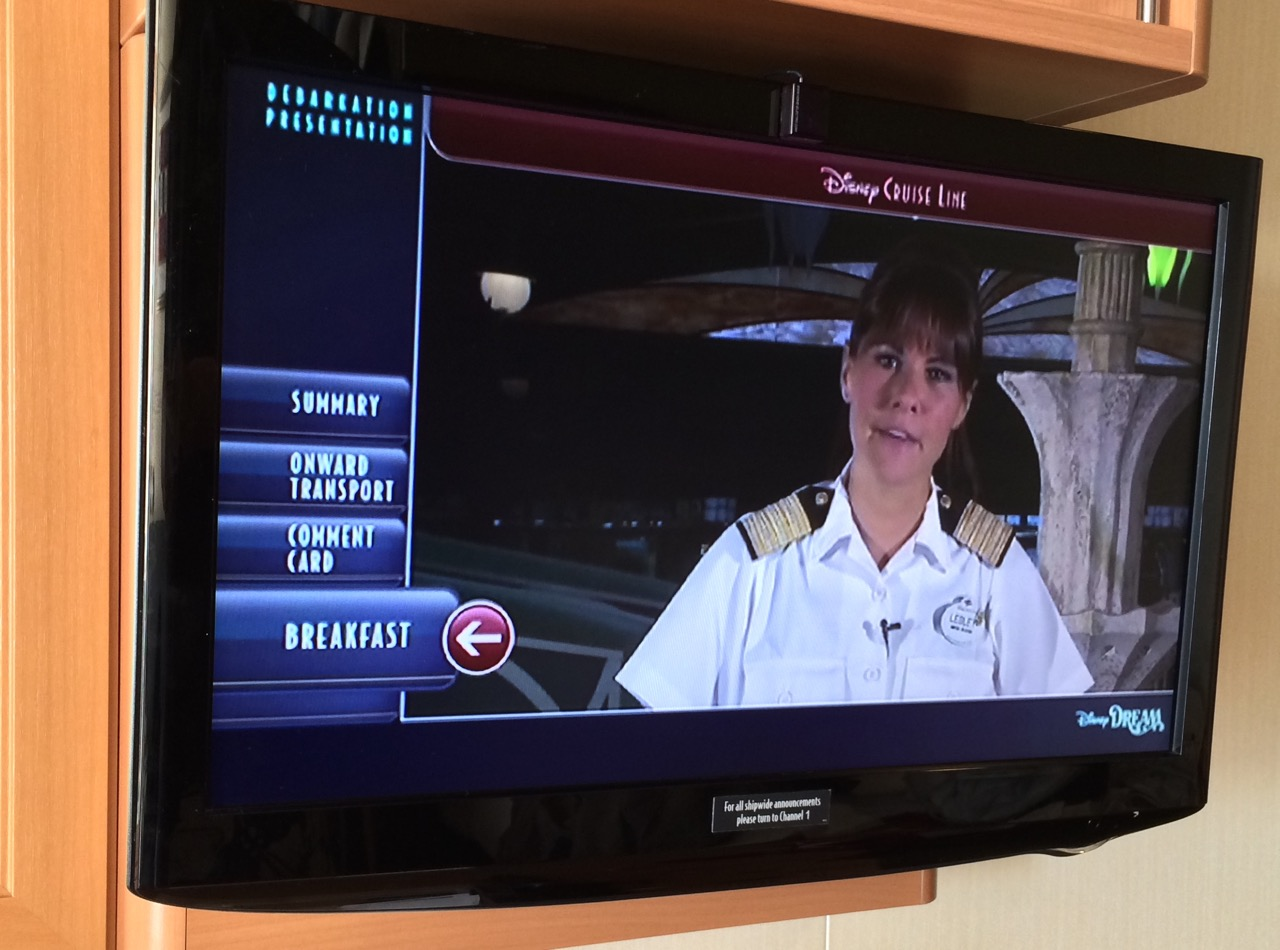 A continuous video plays on the last full day of sailing, informing passengers of disembarkation procedures. Photo by J. Jeff Kober.